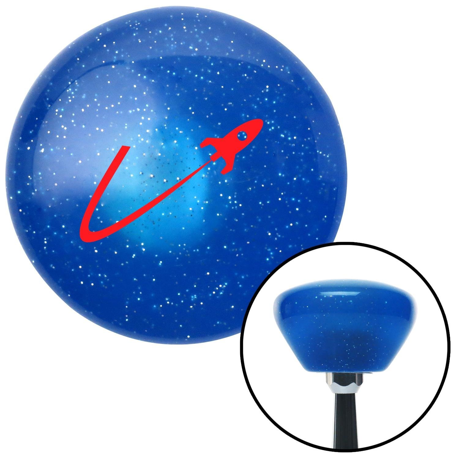 Red Space Ship in Flight American Shifter 189138 Blue Retro Metal Flake Shift Knob with M16 x 1.5 Insert
