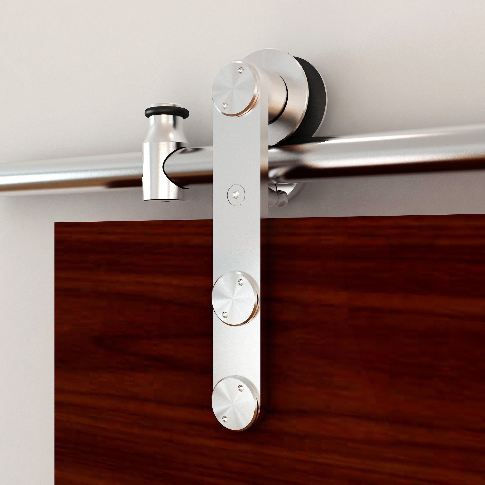 Stainless Steel Stick Style Rolling Door Hardware Kit for Wood or Glass, 96'' L