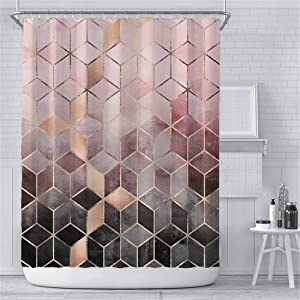 Marble Shower Curtain for Bathroom, Geometric Shower Curtain Modern Texture Fabric Bathroom Curtains with Hooks Waterproof Washable, 72x72 Inches