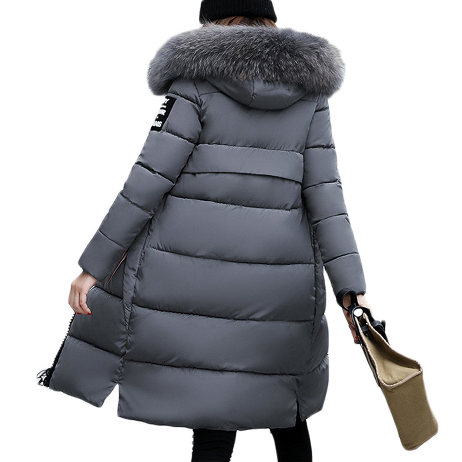 Amazon.com: Dapengzhu New Fashion Warm Winter Jacket Women Big Fur Thick Slim Female Jacket Winter Women Hooded Coat Down Parkas Long Outerwear Orange XL: ...
