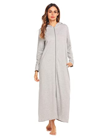 fbd1c14a42 Declare Women Loose Long Sleeve Zip-Front Hoodie Bathrobe with Pockets  Sleepwear Long Robe(S-XXL) at Amazon Women s Clothing store