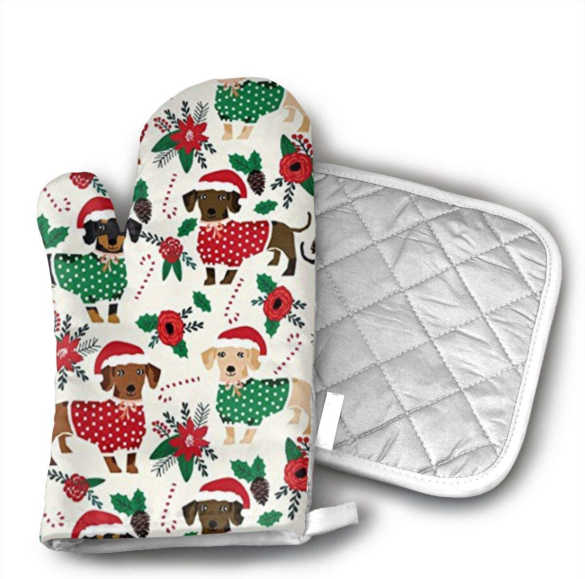 Sjiwqoj8 Doxie Christmas Cute Dachshunds Kitchen Oven Mitts,Oven Mitts and Pot Holders,Heat Resistant with Quilted Cotton Lining,Cooking,Baking,Grilling,Barbecue
