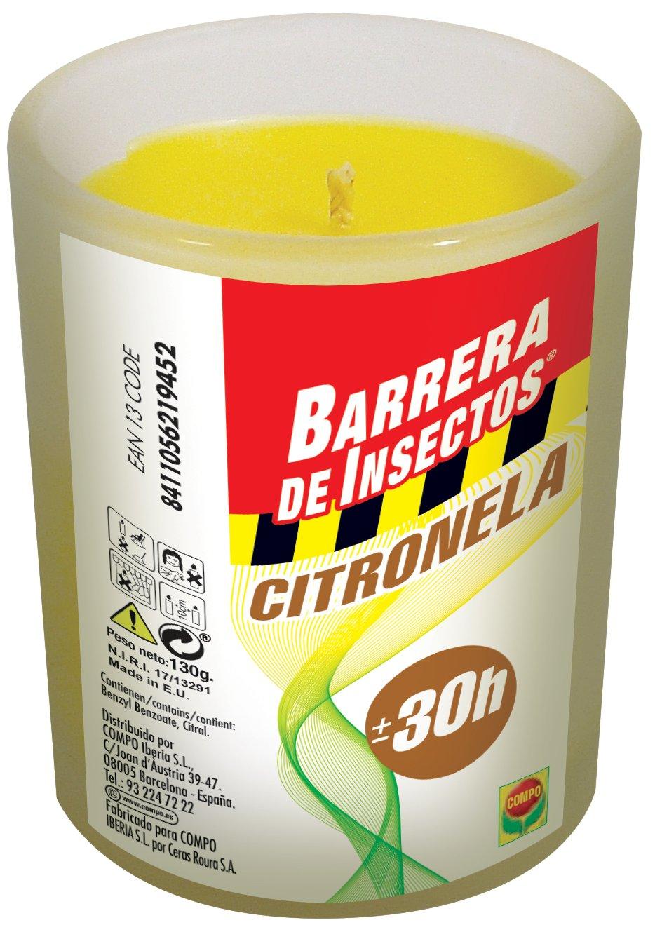 Compo 2194502011 Barrera De Insectos Vela Citronela Cristal, 8x7x7 cm