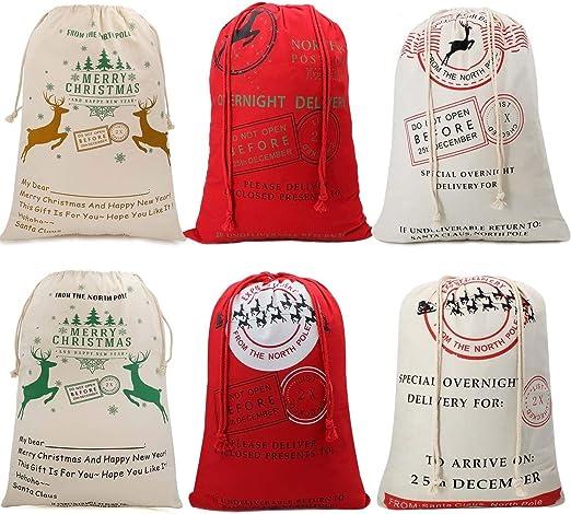 Christmas Gift*Sacks Reusable Drawstring Canvas Bag Creative Gifts Bag Storage