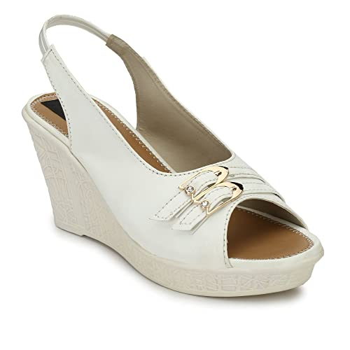 61a1a97176b37 RIMEZS Women's White Synthetic Slip-on Wedges -3: Buy Online at Low ...