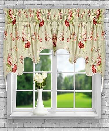 Ellis Curtain Sanctuary Rose 100-by-30 Inch Lined 2-Piece Duchess Valance, Linen