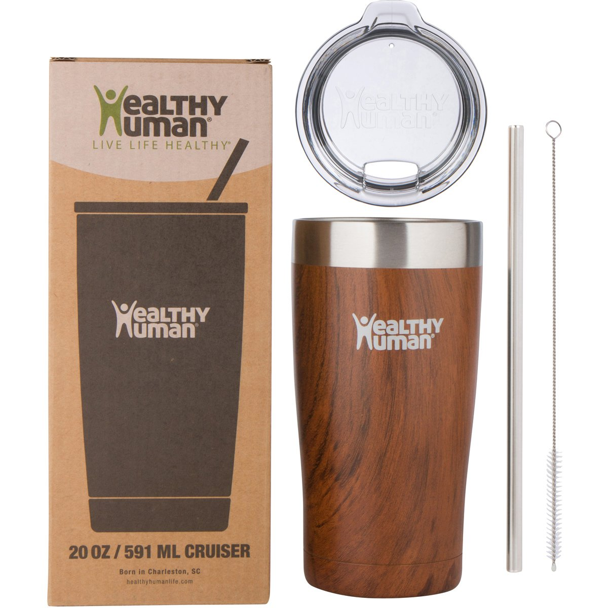 Black Onyx Travel Cup Lid /& Straw Healthy Human Insulated Stainless Steel Tumbler Cruisers Vacuum Double Walled Thermos Tea /& Water 20 oz Idea Coffee