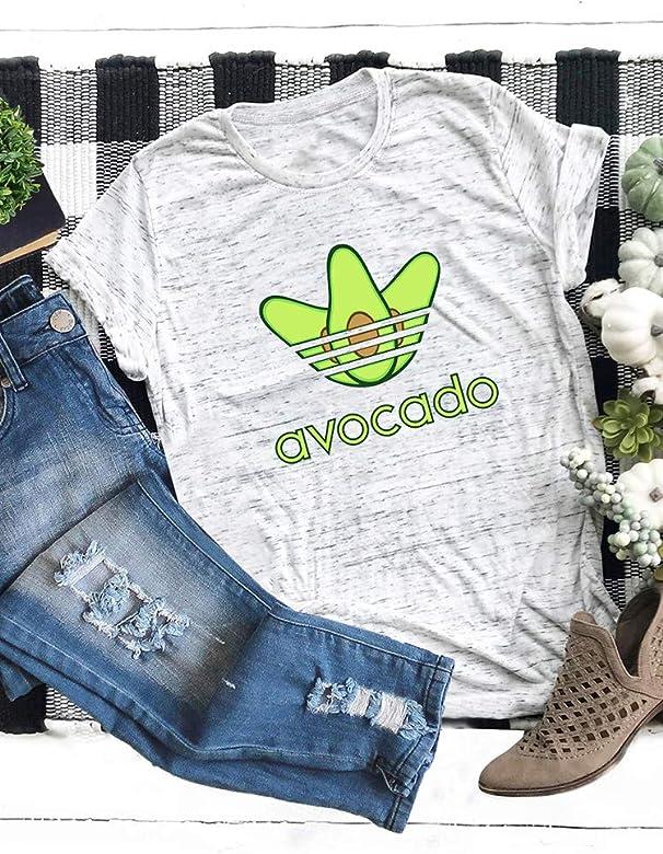 Romacci Women Cotton Casual T-Shirt Avocado Letter Print Short Sleeve O-Neck Funny Cute Tee Tops