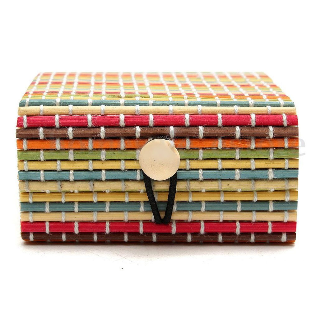 Quaanti Vintage Bamboo Weaving Storage Box Jewelry Necklace Retro Sundries Organizer Soap Makeup Cosmetic Holder Button Switch Container (B)