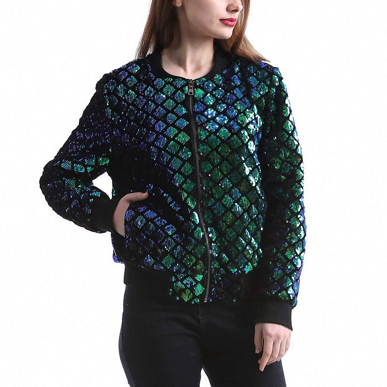 Lana& Kalf Women Sequin Coat Green Bomber Jacket Long Sleeve Zipper Jacket Preppy Coat