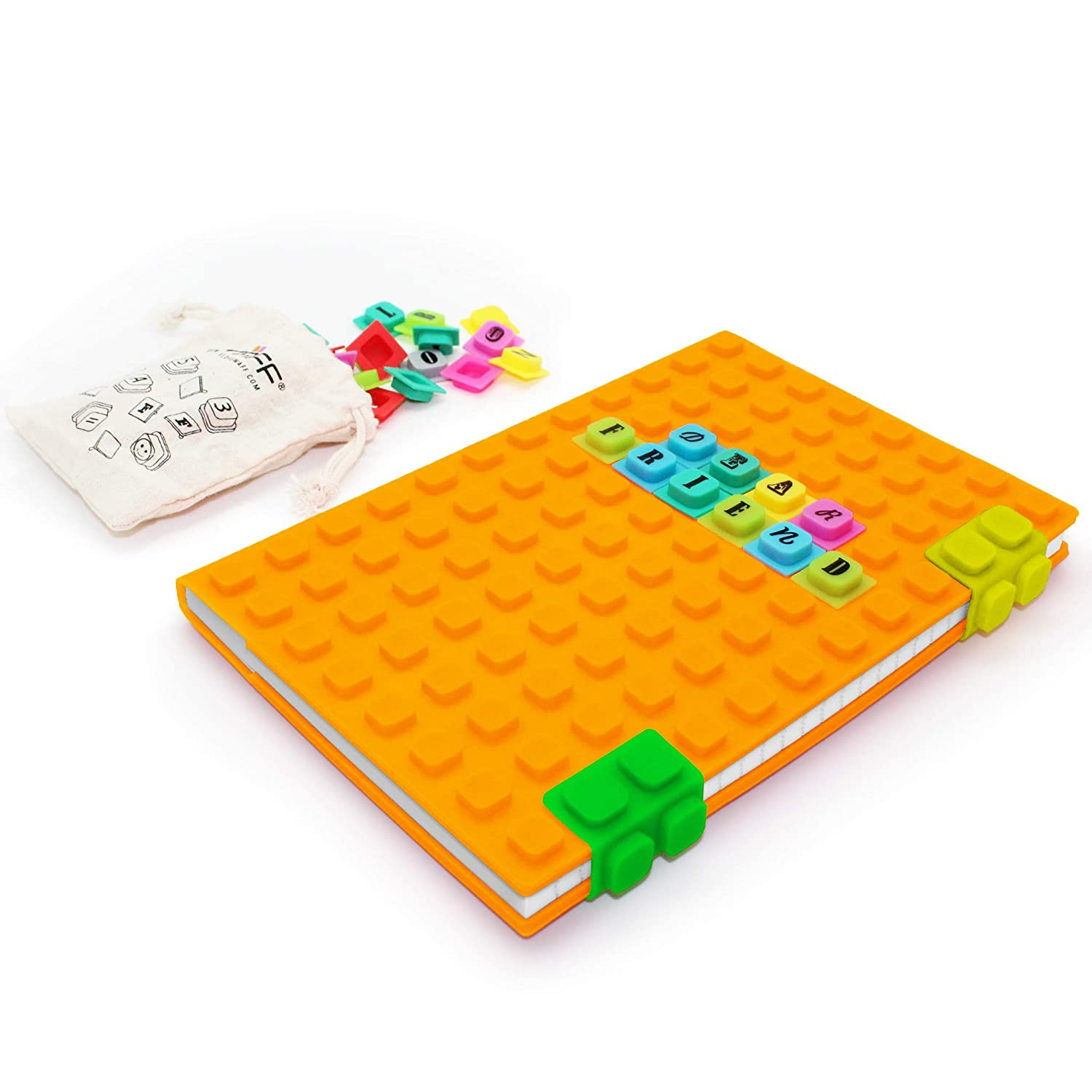 WAFF, Soft Silicone Cube Tiles And Notebook / Journal Combo, Large, 8.25