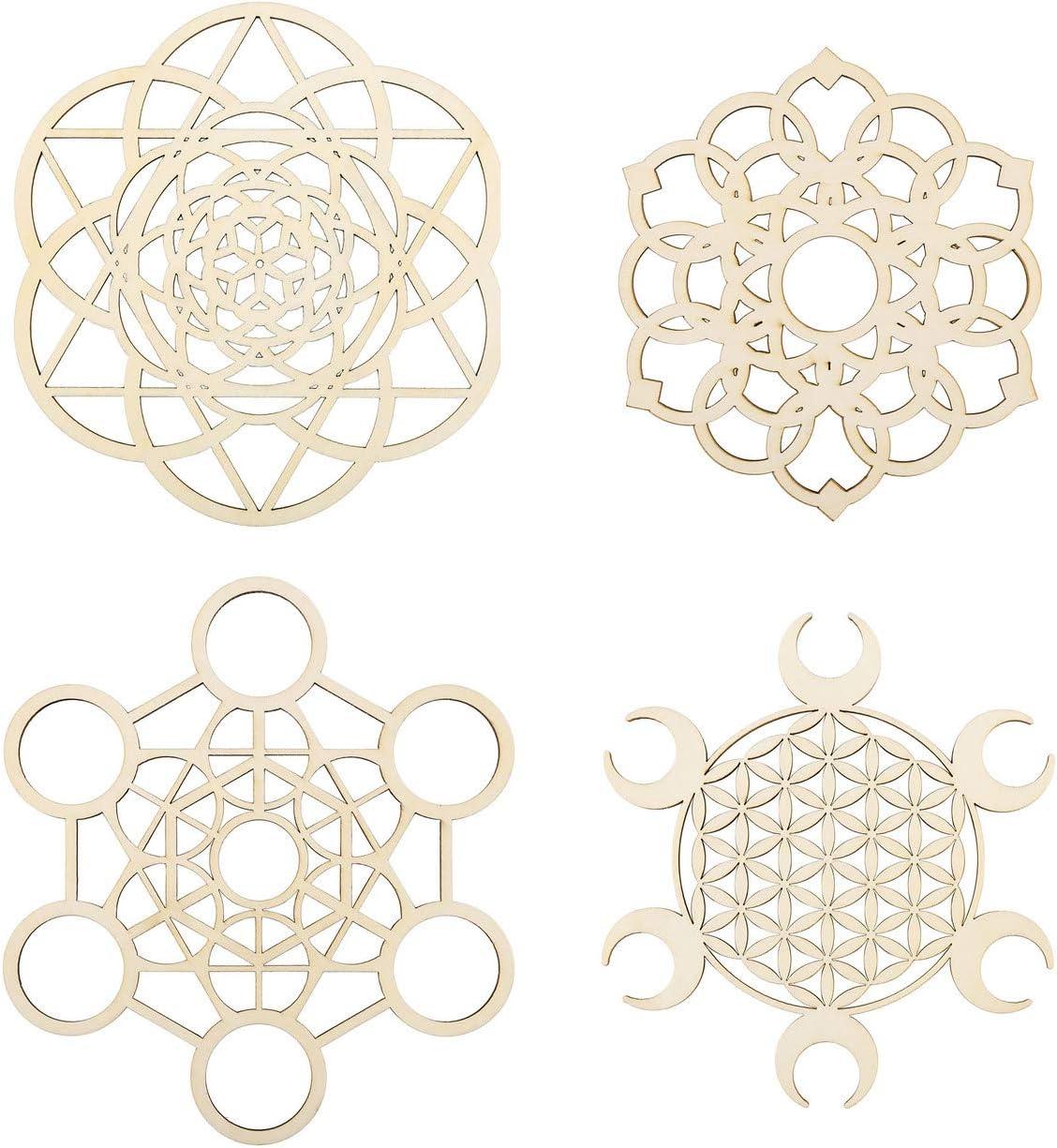 Kitmose 4pcs Sacred Geometry Crystal Grids Flower of Life Set Wooden Wall Decor Art Yoga Meditation Spiritual Crystal Decor Symbol Hanging Home Decoration