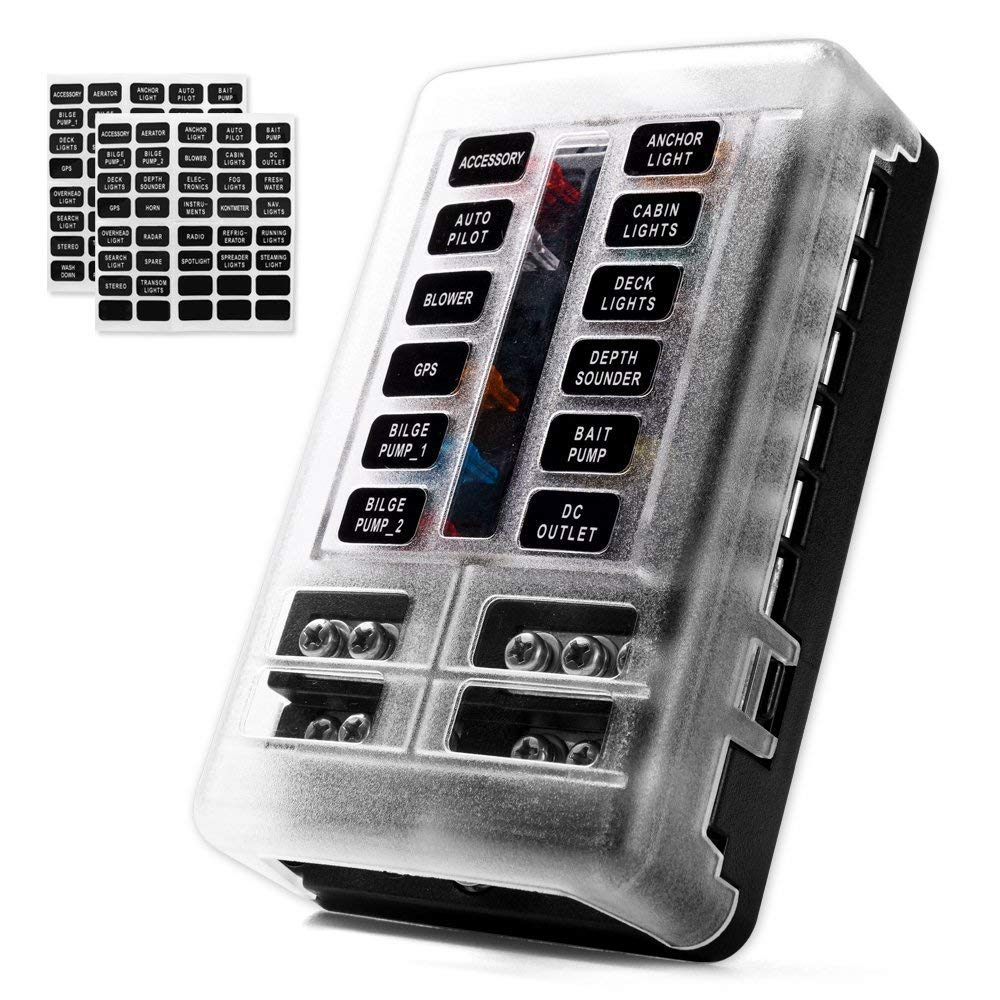MNJ Motor 12-Way Fuse Box Holder with LED Indicator, Waterproof 12-Circuit Blade Fuse Block 30A Per Circuit Durable Protection Cover Sticker Label for Automotive Car Boat Marine SUV