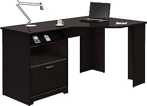 Bush Furniture Cabot 60W Corner Desk, Espresso Oak