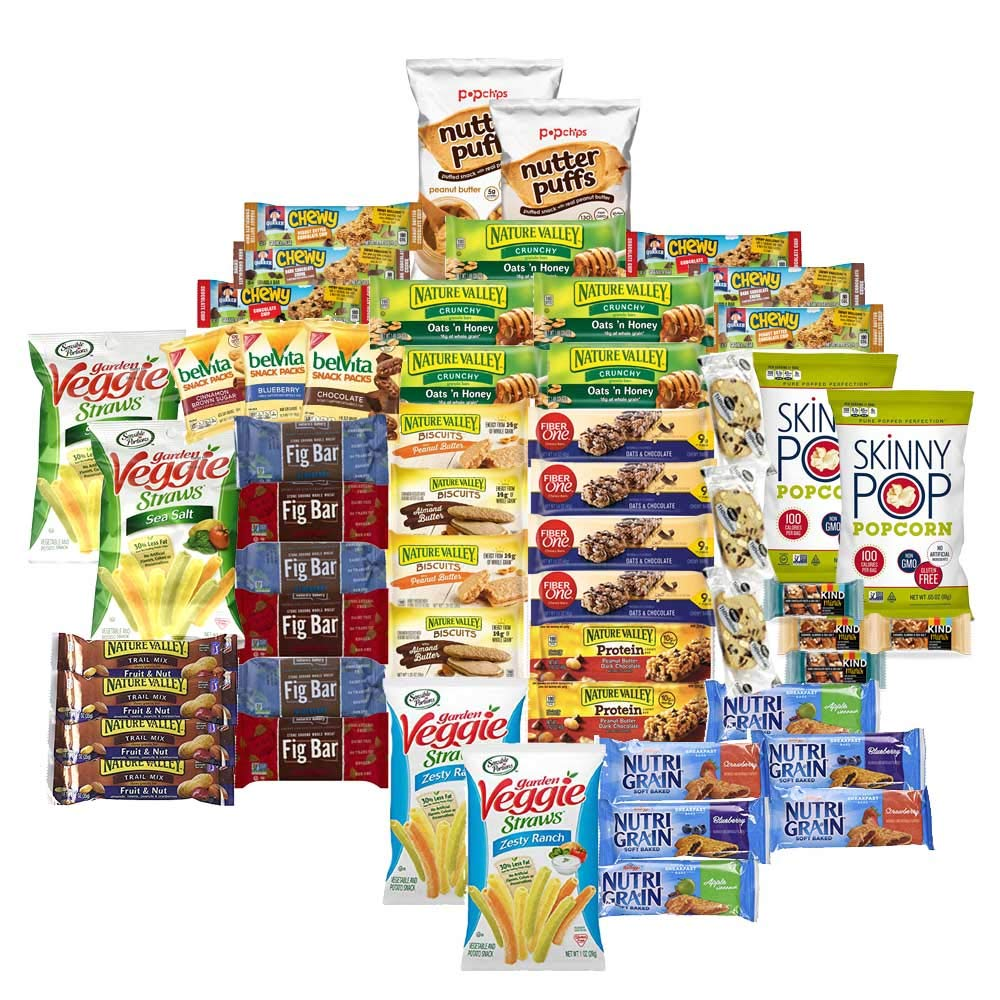 Healthy Munchie Mix - Care Package (55 Count) Snack Box – Variety Assortment with Bars and Crunchy Snacks – Gift Box Sweet & Salty Healthy Snacks for Lunches, College Students and Office Kid Parties by Party Packs To Go