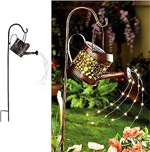 Solar Lights Outdoor for Garden - Watering Cans Modeling Crackle Metal Solar Yard Garden Stake Lights - Waterproof LED Lights for Garden, Lawn, Patio, Courtyard by Elfengarden