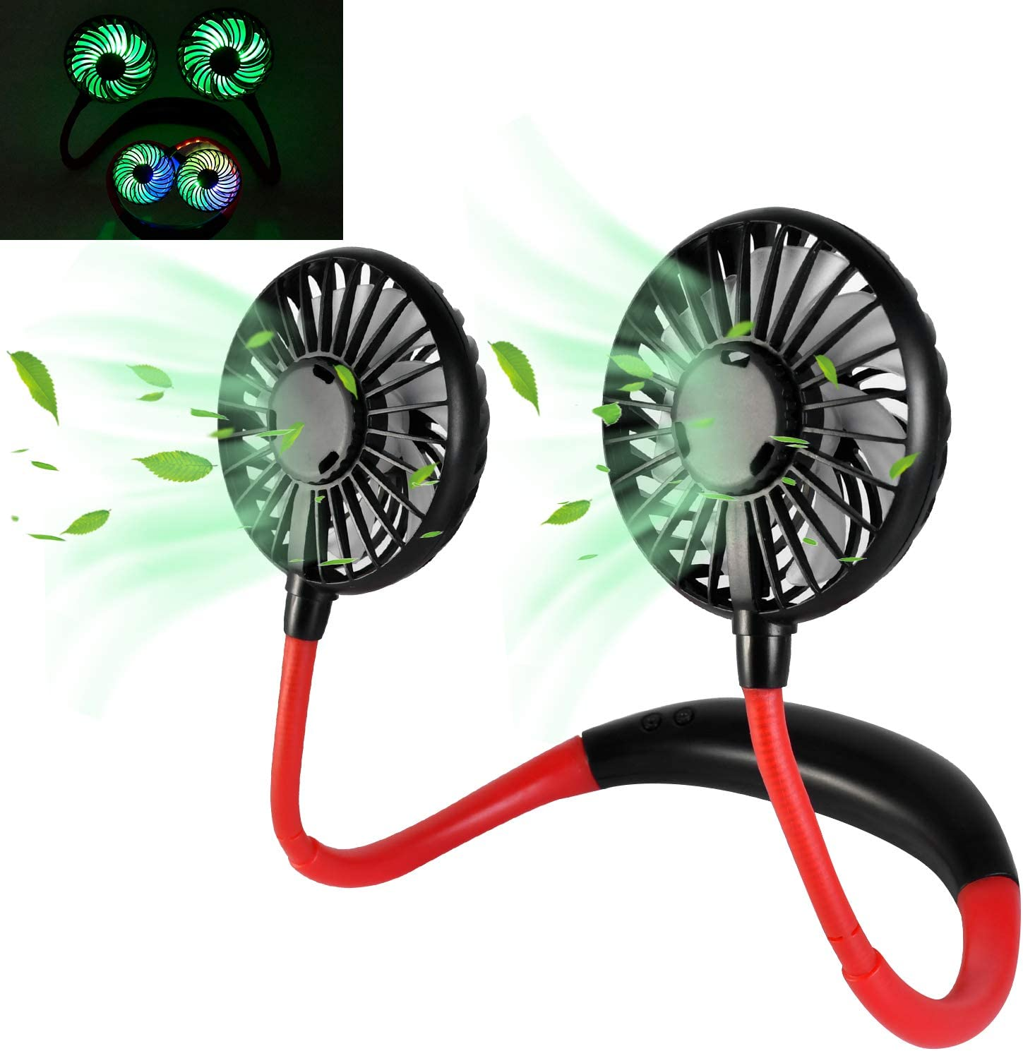 RioGree USB Neck Fan for necklace Mini LED Lighting Wearable Sport Portable Hand Free Personal Hanging Desktop 3 Speed Controller Rechargeable 360 Degree Adjustment for Home Office Outdoor Travel - Black