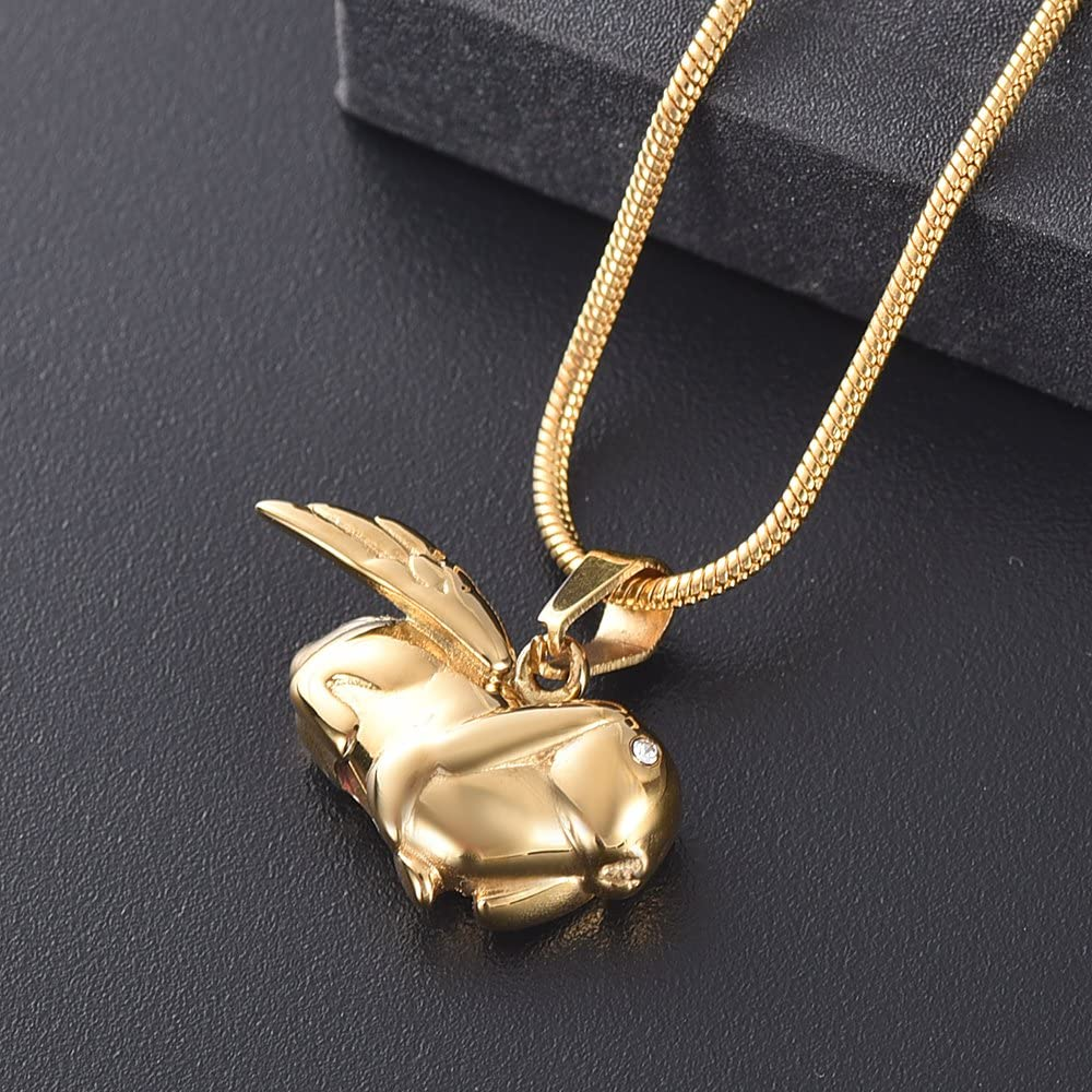 Pet Memorial Urn Necklace Keepsake Jewelry for Ashes zeqingjw Cremation Jewelry for Ashes Angel Wing Rabbit with Crystal Eyes