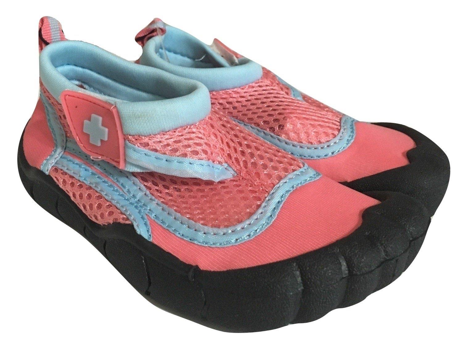 Toddler Activity Shoe, Water Shoe, Aqua Shoe, Grip Socks, Outdoor shoe, Lifeguard Brand (9/10 L, Pink/ Baby Blue)