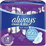 Always Clean & Dry Maxi Thick, Large Sanitary Pads With Wings, 50 Count
