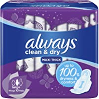 Always Clean & Dry Maxi Thick, Large sanitary pads with wings, 10 pads