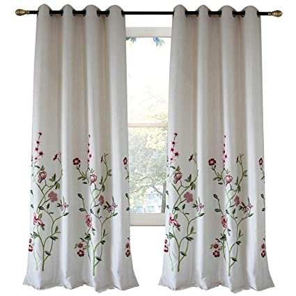 Anady Top Off White Linen Red Floral Curtains 2 Panel Flower And Green Branch Curtains Living Room Drapes Grommet Top 84 Inch Long