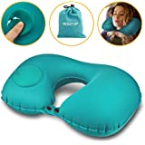 Gohitop Travel Pillows for Airplanes Best Adjustable Inflatable Flying Multi Traveling Foldable Compact Self Inflating Neck Chin Support Pillow Train Car Rest Portable Special Green