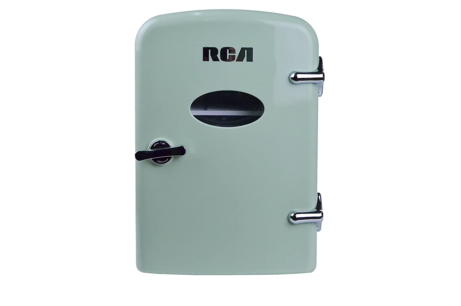 RCA Mini Compact Beverage Refrigerator, Mint Green, Great for the office, keep small meals cool