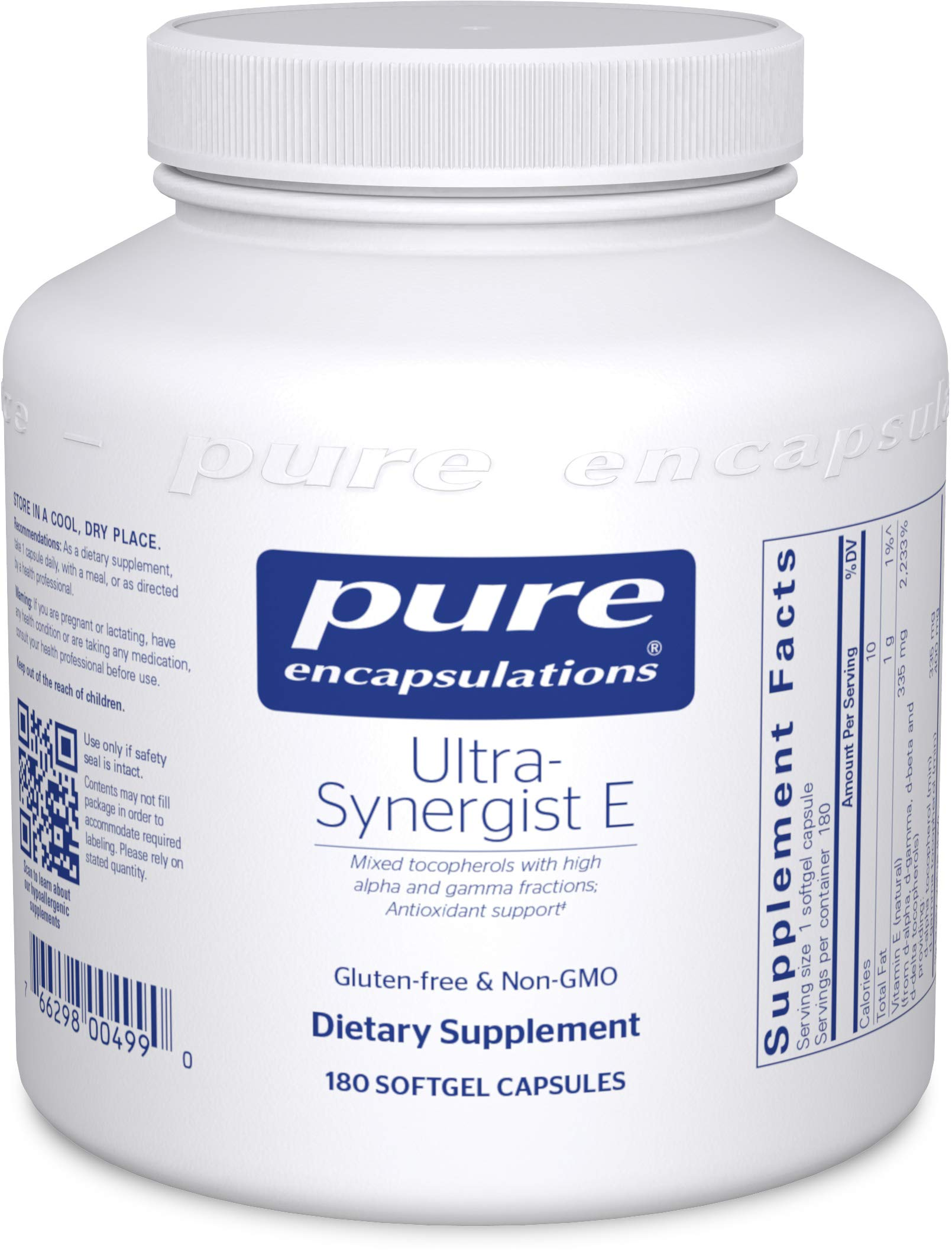 Pure Encapsulations - Ultra-Synergist E - Vitamin E Mixture for Antioxidant Support, Prostate Health, and Cardiovascular Function - 180 Softgel Capsules