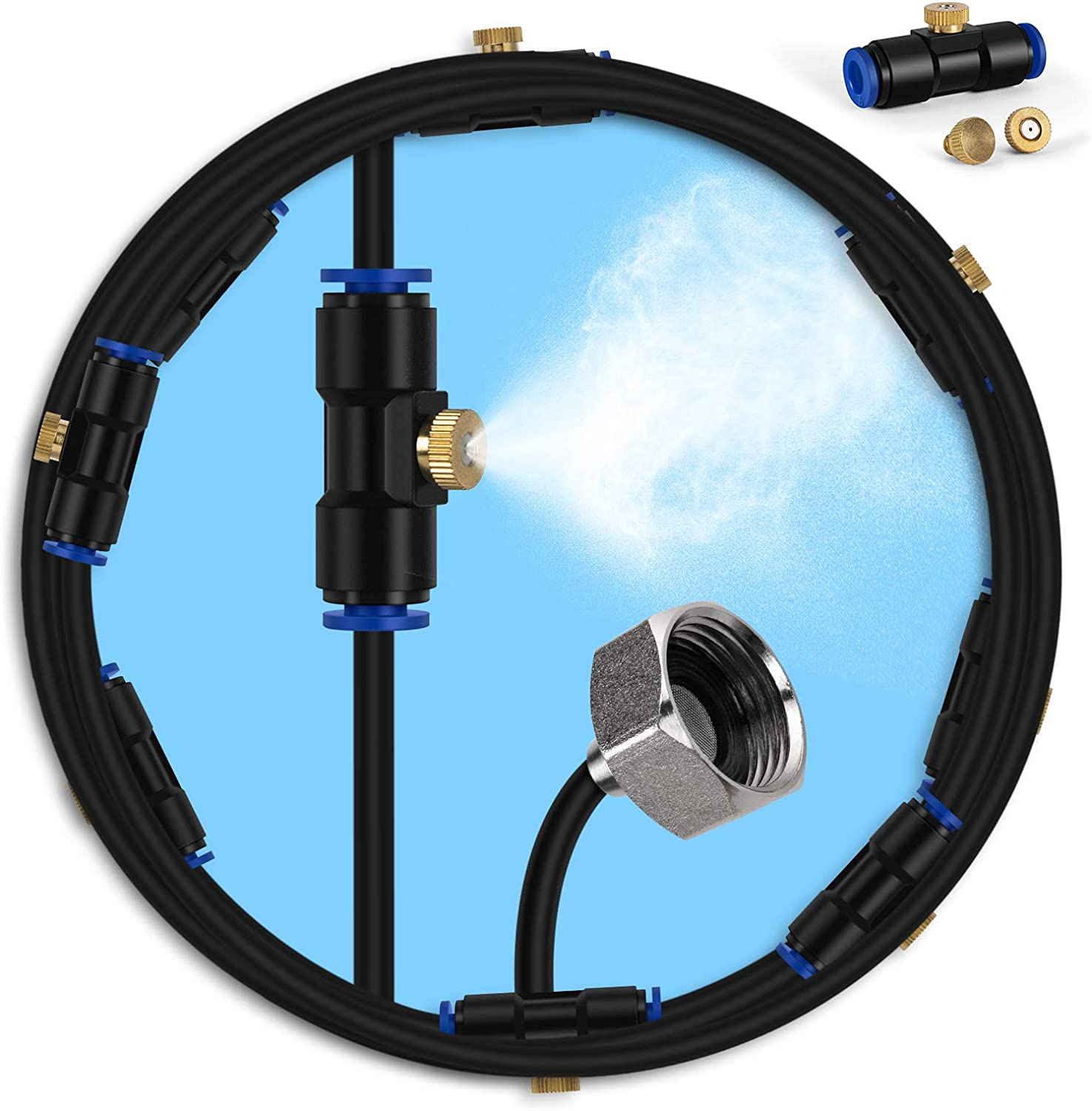 lifeegrn Misting Cooling System, Outdoor Misting System for Patio, 40 FT Misting Line+10 Mist Nozzles+3/4