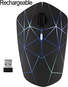 Rechargeable Wireless Mouse, illuminating backlit Powered by Li-Polymer Battery, Optical Sensor, Nano USB Receiver,3 Stages DPI Speed, 4 Buttons for PC, Laptop, Tablet, MacBook etc. (Net illuminating)