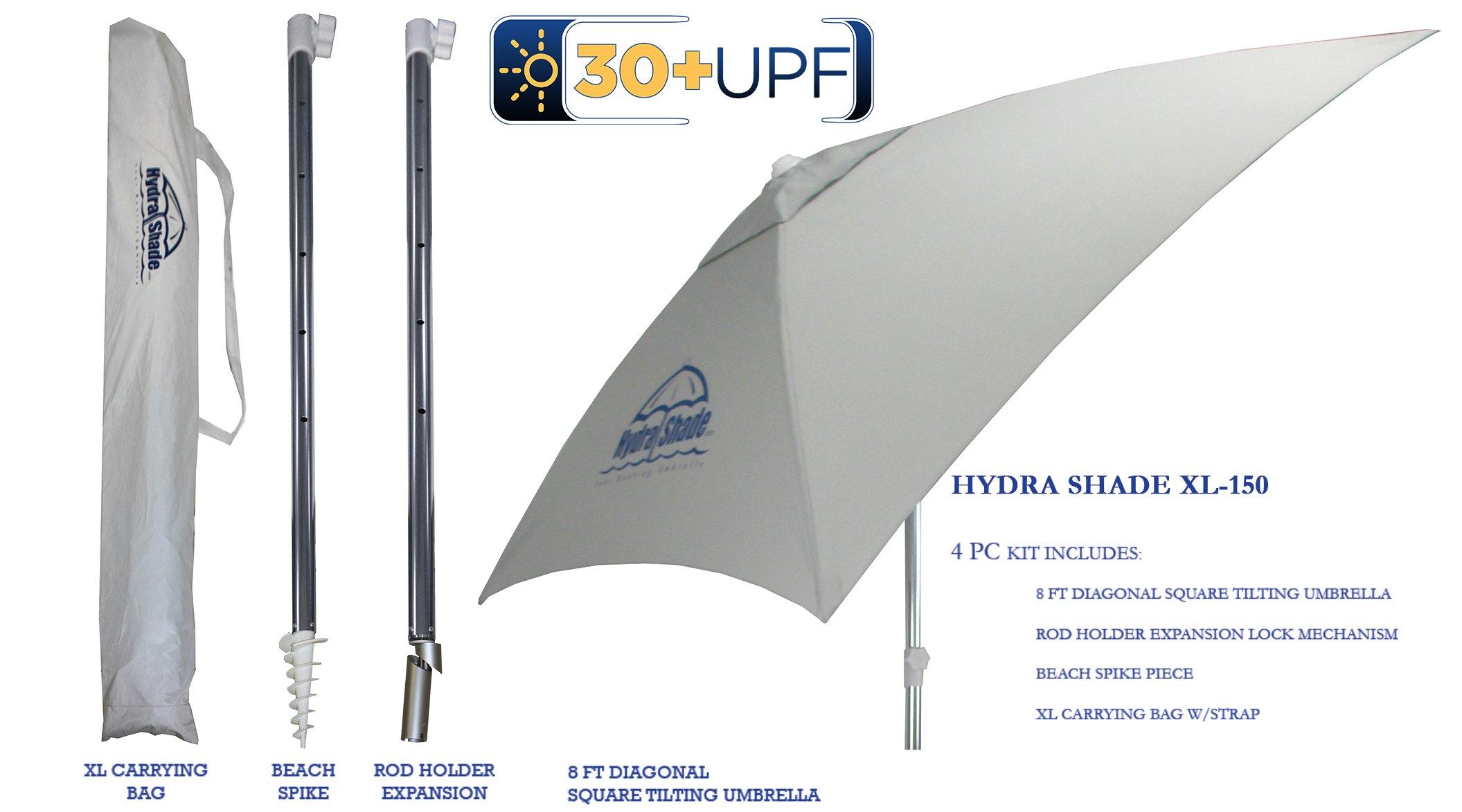 Hospitality Rattan XL-150 Hydra Shade 8' Square Boating & Beach Umbrella Kit, White by Hospitality Rattan (Image #12)