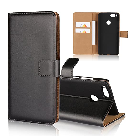 best loved 25ba1 1282c Xiaomi Mi A1 / 5X Wallet Case, Jaorty Genuine Leather Folio Flip Wallet  Case Cover Book Design with Kickstand Feature & Magnetic Closure & Card ...