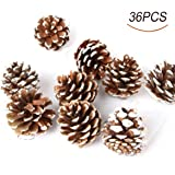 36pcs 4cm Christmas Pine Cones Pendant With String Natural Wood Christmas Tree Decoration Crafts Home Ornament
