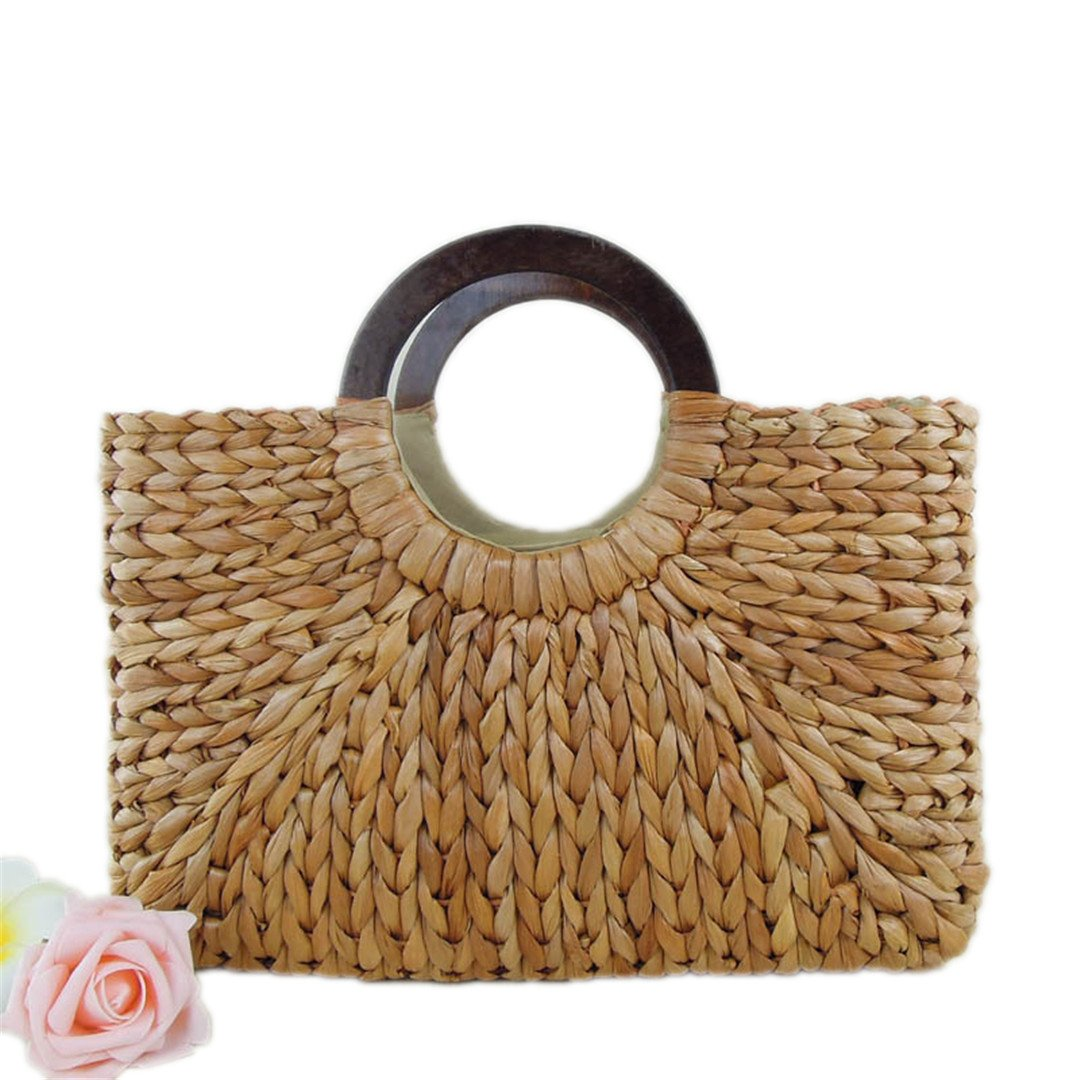 Woven Bags Beach Handbags Wooden Ring Handle Simple Casual Travel
