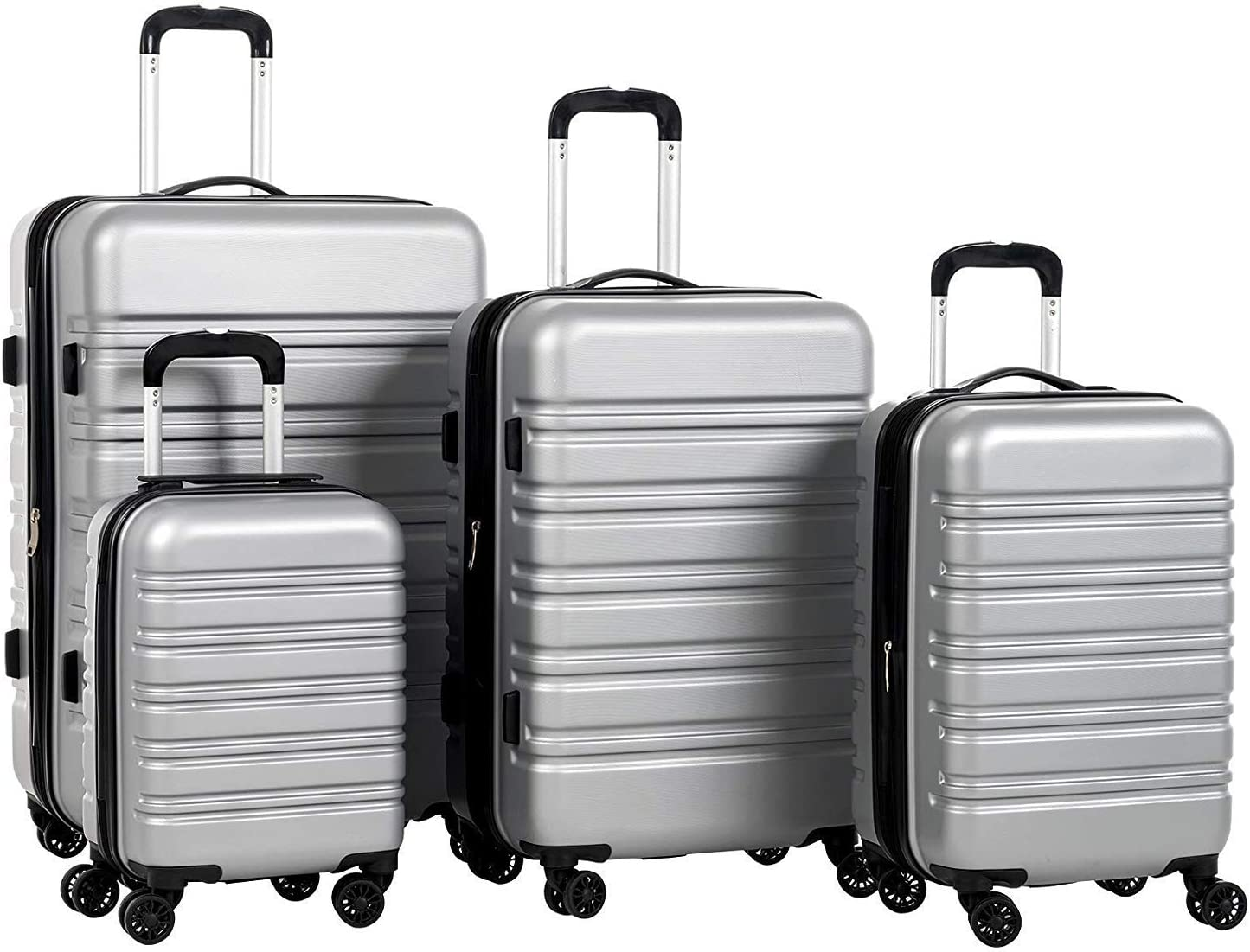 Murtisol Expandable ABS Luggage Sets TSA Lightweight Durable Spinner Suitcase, 4PCS Silver