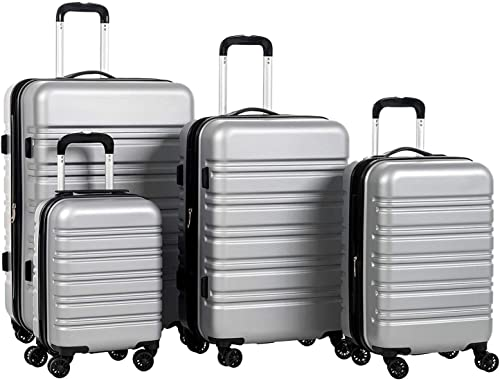 Murtisol Travel 4 Pieces Expandable ABS Luggage Sets TSA Lightweight Durable Spinner Suitcase 16 20 24 28 , 4PCS Silver