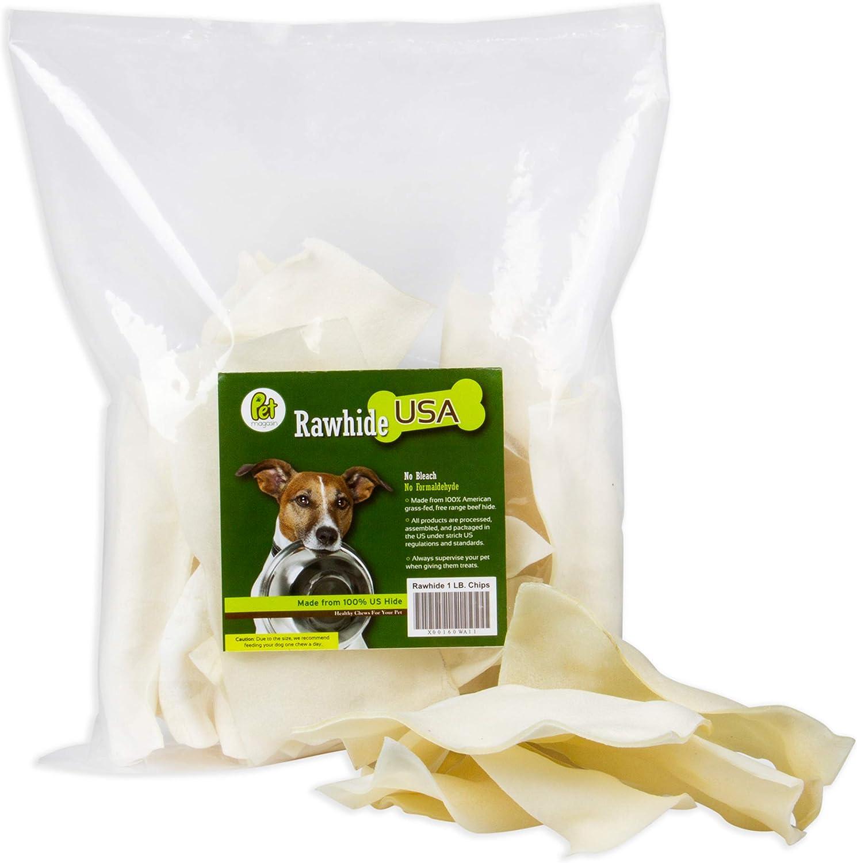 PET MAGASIN Patatas de Cuero Crudo Natural – Caprichos Excelentes y de Larga duración para Perros con cueros de Ternera Cortados, procesados sin aditivos ni químicos.