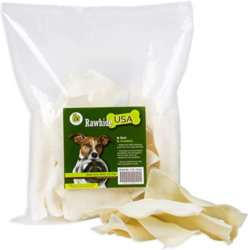 Pet Magasin Natural Rawhide Chips Premium Long-Lasting Dog Treats with Thick Cut Beef Hides, Processed Without Additives Or Chemicals