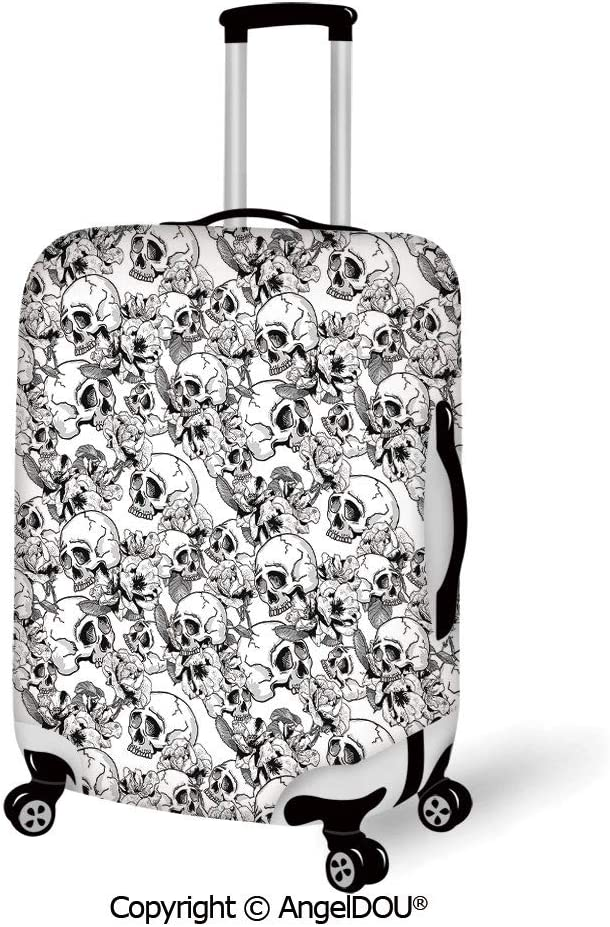 AngelDOU Fashion Elastic Fabric Luggage Protective Cover Spires Decor Digital Speedy Sharp Lines with Dynamic Shape Machine Age Modern Art Image Grey White Suitable18-28 Inch Trolley Case Suitcase Du