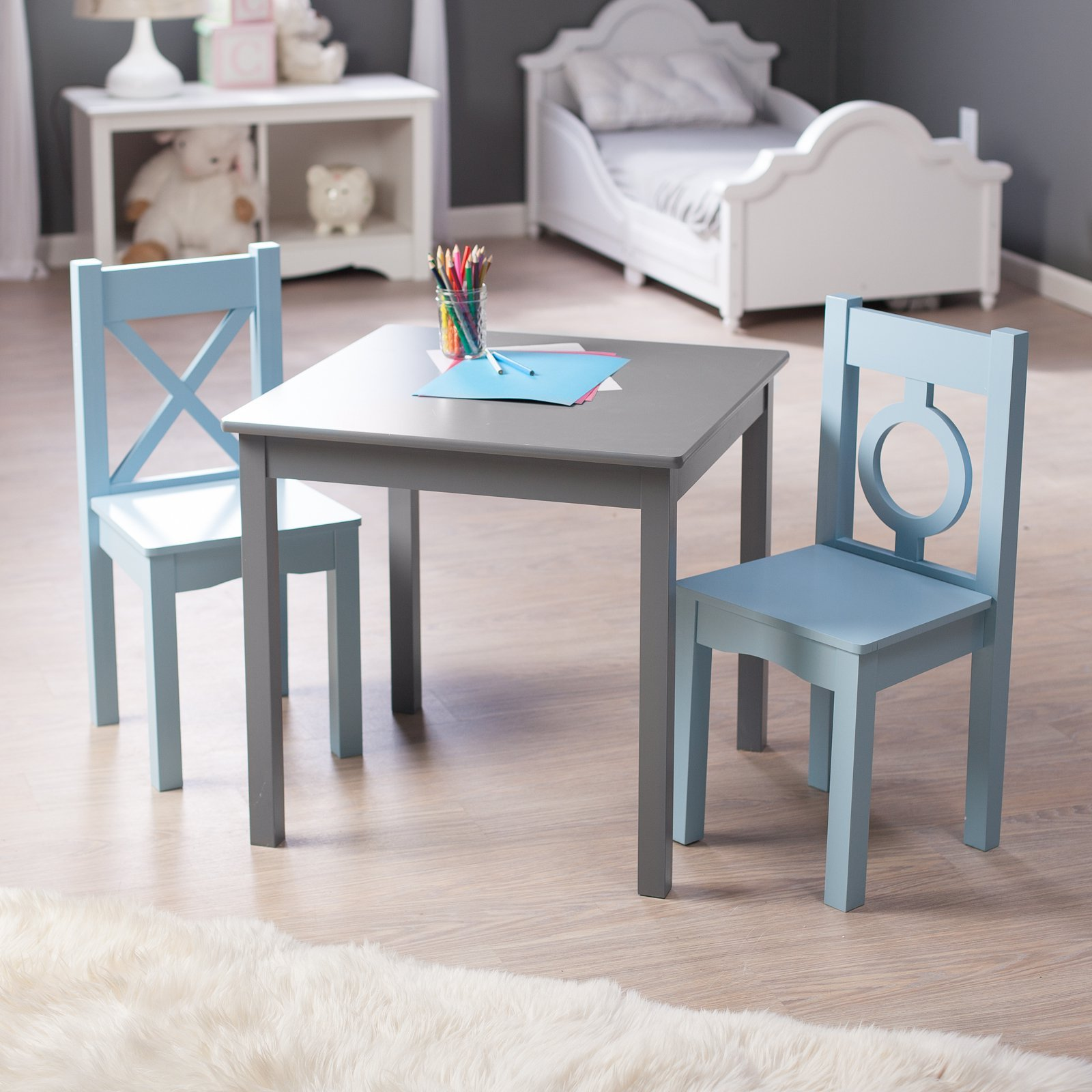 Lipper Hugs and Kisses Engineered Wood Construction for Lasting Durability, Cute, Classic Design, On-trend Gray Finish Paired with Dreamy Blue, Table and 2 Chair Set