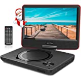 """WONNIE 11.5"""" Lecteur DVD Portable avec écran Rotatif de 9,5"""" à 270°,Carte SD et Prise USB avec Charge directe Formats/RMVB / AVI / MP3 / JPEG, Parfait pour Enfants (Rouge)"""