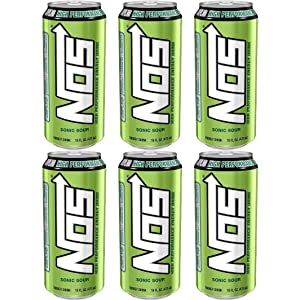 NOS Sonic Sour, High Performance Energy Drink, 16oz Can (Pack of 6, Total of 96 Fl Oz)