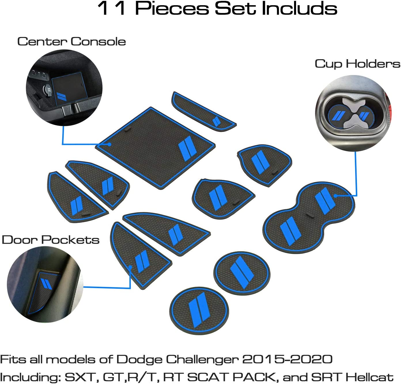 Center Console Liners Mat Interior Door Pocket Liners 11-pc Blue Trim ABESTcar for Dodge Challenger Accessories Cup Holder Insert 2015-2020
