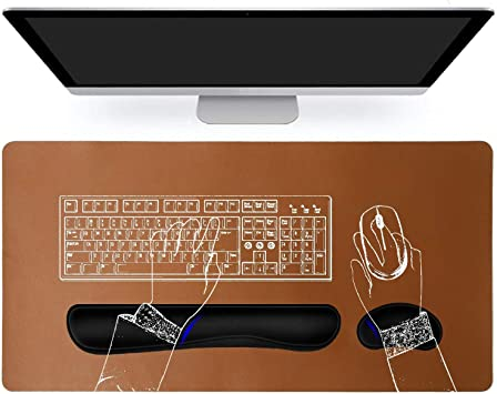 PU Leather Memory Foam Mouse Pad Mat with Wrist Rest Support Cushion Pain Relief