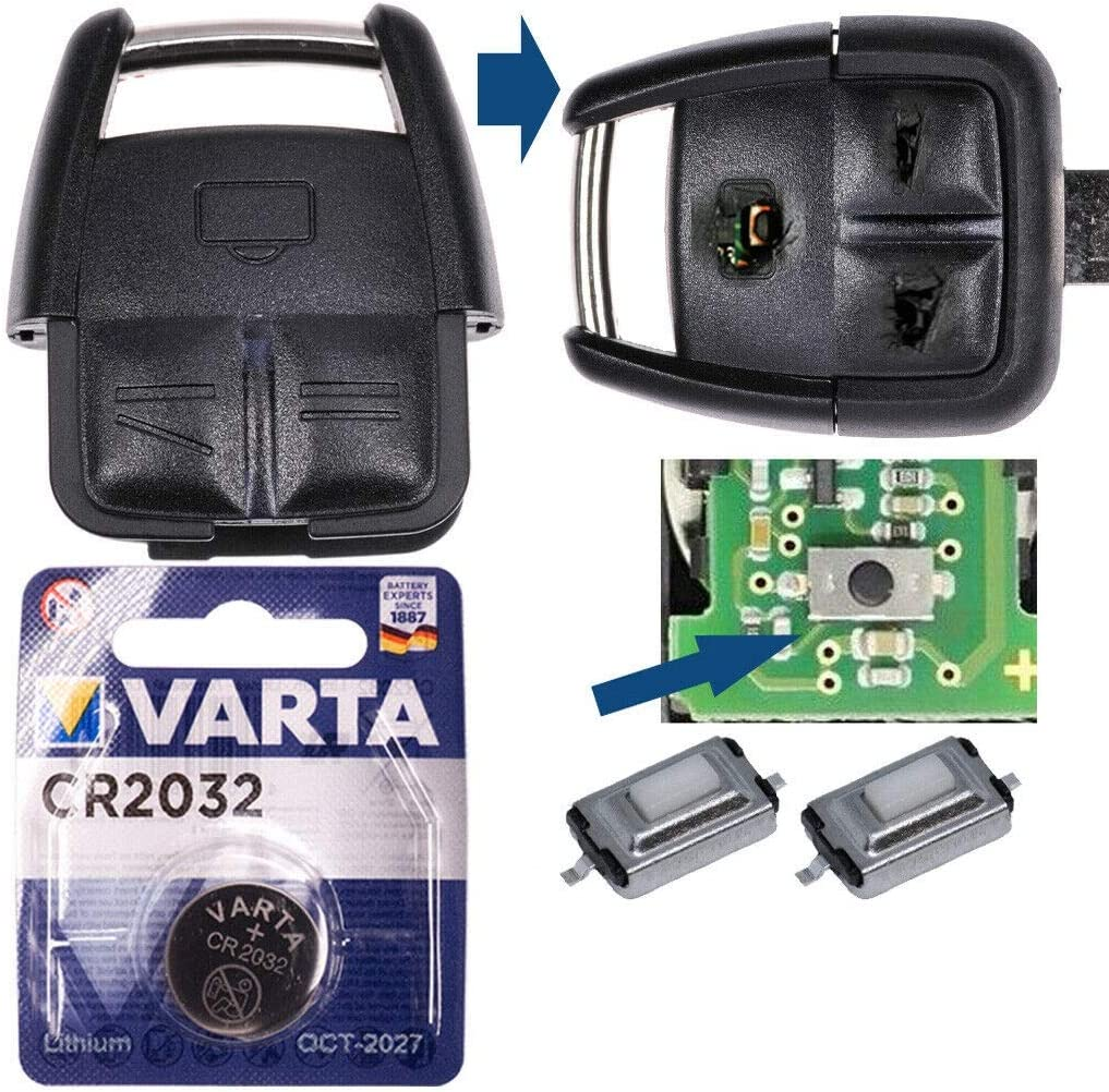 Repair Reparatur Satz Auto Schlüssel Austausch Gehäuse Mit 3 Tasten Drucktaster Batterie Kompatibel Mit Opel Vectra