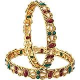Zeneme Kundan Polki Red & Green Gold Plated Bangles Jewellery for Women / Girls…
