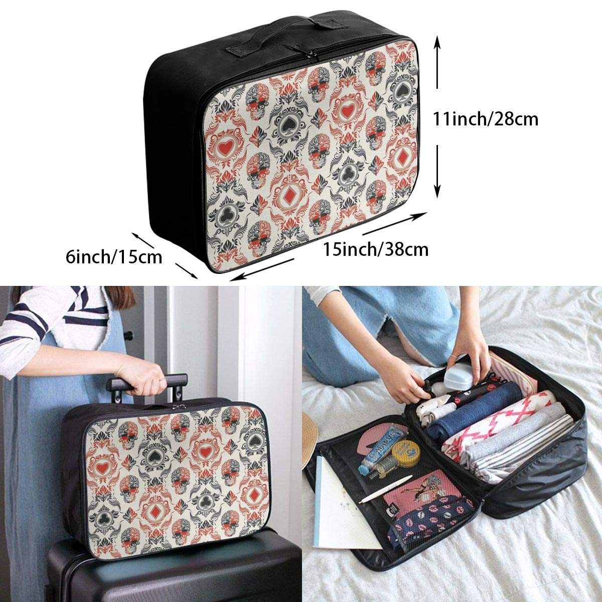 ADGAI Playing Card Themed Canvas Travel Weekender Bag,Fashion Custom Lightweight Large Capacity Portable Luggage Bag,Suitcase Trolley Bag