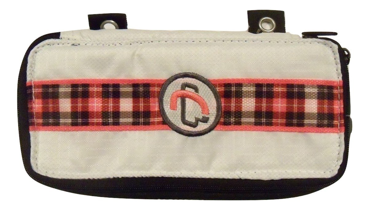 Case It The Pouch Zippered Pencil Case with Grommets ~ White with Pink Plaid Accent (8.5'' x 4'' x 1.5'')