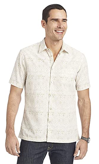 1bf50859 Image Unavailable. Image not available for. Color: Van Heusen Mens Cream  Egret Short-Sleeve Polynesian Printed Shirt ...